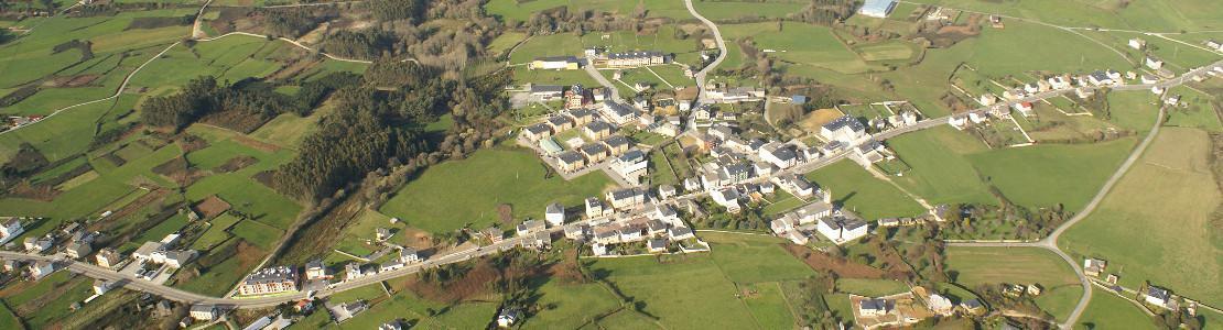 Imagen aérea de la parroquia de San Cosme de Barreiros